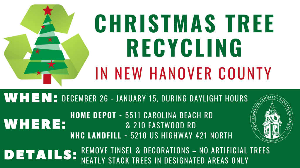Christmas Tree Recycling Environmental Management New Hanover County North Carolina